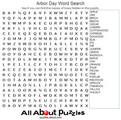 Holiday Word Search Printables: Arbor Day Word Search
