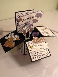 Stampin' Up! Card in a box using Embellished Events and Easy Events stamp set and Modern Medley DSP. Maria Banting