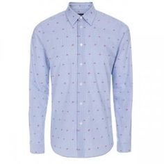 Paul Smith Men's Blue Grid-Check Cherry Motif Shirt