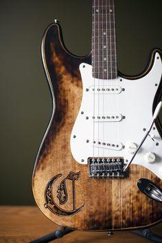 stratocaster custom guitar pyrography