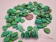 Close Out Beads Green Blue Dyed Turquoise Disk Flake by FLcowgirls, $2.99