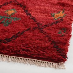 Great deep red color in this shag rug.