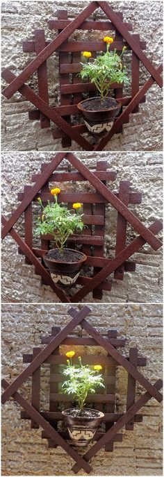 In this image, we are going to introduce you a fascinating wood pallet wall pots stand art with an infusion of dark-brown color paint on it. This entire creation is simply done by reshaping the old and useless pallet planks in a unique and delightful way. #pallets #woodpallet #palletfurniture #palletproject #palletideas #recycle #recycledpallet #reclaimed #repurposed #reused #restore #upcycle #diy #palletart #pallet #recycling #upcycling #refurnish #recycled #woodwork #woodworking