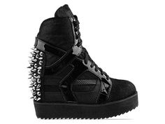 Jeffrey Campbell Rodman Spike in Black Pony Fur Silver at Solestruck.com