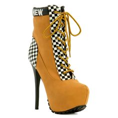 Ready for the rush of the people and cabs that are surrounding the busy streets..? The fantastic night lights that dresses the city is just what you will get with these yellow cab inspired booties. Featuring padded collar with checkered print that embodies the famous New York Cab. Walk and be fabulous with the busy streets of New York and be inspired.