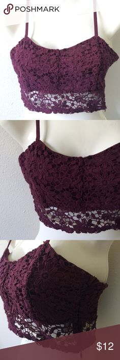 NWOT Full Tilt Wine Bralette NWOT - Size Small -- purchased from Tillys -- no longer available - body is 100% cotton and lining is 100% polyester-- adjustable straps a with zipper on the side, zips downward--machine was cold with like colors - gentle cycle - tumble dry low -🚫trades 🚫PayPal Full Tilt Tops Crop Tops