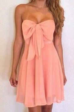 Love the Bow! Sexy Coral Pink Strapless Sleeveless Bowknot Embellished Women's Dress #Sexy #Coral #Pink #Strapless #Dress