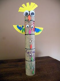 The Fantastic Five: Geography/History: Paper Towel Totem Poles