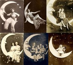 Paper moon photo booths were popular attractions at fairs and carnivals starting back in the early 1900s.