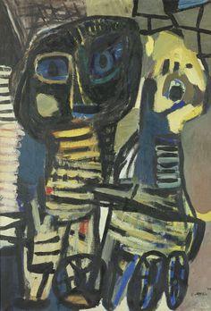 """Karel Appel, (1921-2006), De eerste publicatie van de groep bevatte een sterk links georiënteerd manifest van Constant. Appel voelde zich hier niet bij horen, het ging hem om de kunst alleen; """"l'art pour l'art"""". Toen Appel een serie schilderijen maakte genaamd Kampong bloed, naar aanleiding van de politionele acties van Nederland in Indonesië, ging het hem eerder om de menselijke verontwaardiging over het leed van de individuele mens."""