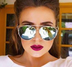 Trendy Futuristic Flat Mirror Lenses Top Square Sunglasses For Women