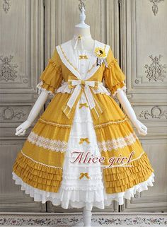 Sunflowers Lolita OP Dress by Alice Girl Kawaii Fashion, Lolita Fashion, Cute Fashion, Emo Fashion, Gothic Fashion, Dress For You, The Dress, Pretty Outfits, Pretty Dresses