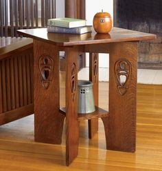 Stickley Find of the Week: Argyle Street End Table  Based on designs by Scottish designer Charles Rennie Mackintosh, this end table has its legs placed on the diagonal for visual interest. Legs have carved-in designs reminiscent of Glasgow's renowned Argyle Street Tea Rooms.