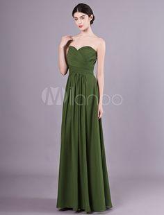 1b29055a733c Abiti da damigella d onore Lungo verde senza spalline in chiffon abito da  ballo formale con scollo a balze