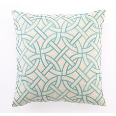 D.L. Rhein Embroidered Circle Link Linen Throw Pillow Color: Turquoise
