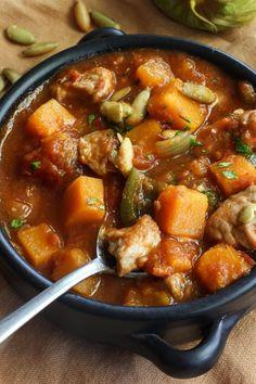 Recipe: Pork, Poblano, and Pumpkin Stew — 5 Festive Pumpkin Recipes from Nealey Dozier Slow Cooker Chile Verde, Slow Cooker Curry, Slow Cooker Beef, Recipe For Chile Verde, Pumpkin Stew, Classic Beef Stew, Pork Recipes, Oven Recipes, Cooker Recipes