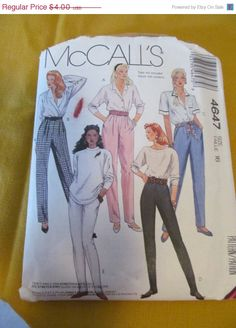 SALE Vintage 80's Style Sewing Pattern by McCall's by EarthToMarrs, $3.20
