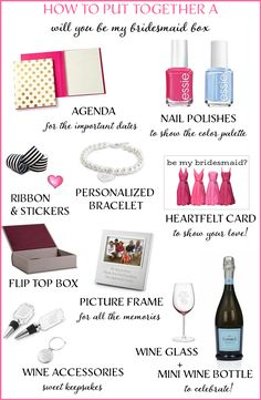 "How to Create a ""Will You Be My Bridesmaid"" Box http://www.theperfectpalette.com/2014/08/how-to-create-will-you-be-my-bridesmaid.html"