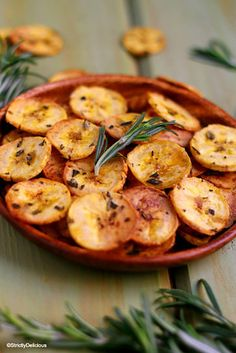 Make a batch of savory rosemary olive oil plantain chips.