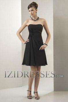 A-line Strapless Chiffon Bridesmaids Dress - IZIDRESSES.COM