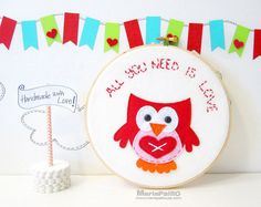 Ready To Ship Owl Embroidery Hoop Art All You Need Is by Feltos