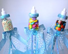 Baby Bottle Favors Picks Or Sticks / Baby Shower Centerpiece Decoration /  Blue Baby Bottle Party