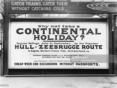 Poster advertising London, Midland & Scottish Railway holidays to Zeebrugge and other destinations within Europe. The LMS provided rail connections to ferries and to trains when the passengers arrived in Europe. Competition between the railway companies was very high and rail services and holidays were advertised at most stations.