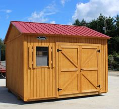 Ranch Style Wood Shed with Metal Roof made in NC