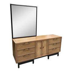 Mid Century American of Martinsville Ming Credenza Dresser - Removable Mirror Beveled Edge Mirror, Brass Mirror, Sideboard Buffet, Credenza, Vintage Furniture For Sale, Mid Century Sideboard, Drawer Handles, Walnut Wood, Home Furniture