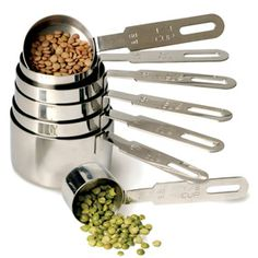 RSVP Endurance 7-Piece Measuring Cup Set: Made of Heavy-gauge stainless-steel with extended sizes to easily halve, double or triple recipes, these are an investment, but look so awesome! #Measuring_Cups #RSVP_Endurance