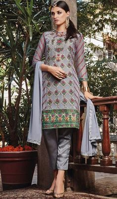 Beckon bedazzlement in this gray color embroidered georgette pant style suit. The lovely lace and resham work a substantial feature of this attire. #newdesignstraightdresses #straightgeorgettesuits #straightcutdressdesign