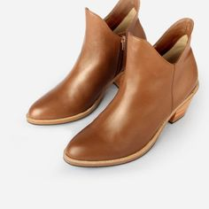 The Two Point Five Ankle Boot - toffee leather 2.5-inch stacked heel ankle boot - Poppy Barley