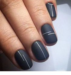 Looking for easy nail art ideas for short nails? Look no further — here are ar… Looking for easy nail art ideas for short nails? Look no further — here are are 20 quick and easy nail art ideas for short nails. Minimalist Nails, Minimalist Design, Cute Nail Art Designs, Line Nail Designs, Simple Nail Designs, Short Nail Designs, Matte Nail Designs, Black Nail Designs, Nail Design For Short Nails