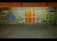 kitchen tile backsplash using Art tiles from Carreaux du Nord studio and other misc. Craftsman Tile, Craftsman Interior, Craftsman Kitchen, Craftsman Decor, Craftsman Fireplace, Craftsman Houses, Craftsman Bungalows, Kitchen Wall Tiles, Kitchen Backsplash