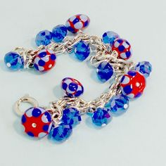 Bobs Flame Beads handmade lampwork bead bracelet chain blue red crystals sz 6 1. #Pat2 #614