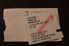 Maison Martin Margiela Invite: Ticket