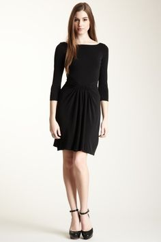 Issa London Boat Neck Dress with Shirred Waist