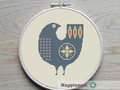 cross stitch pattern scandinavian bird, retro, modern cross stitch, PDF pattern ** instant download**