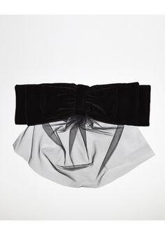 Velvet Bow by Simone Rocha.  From the runway; large, 3-tier bow in lush black velvet with a tonal, sheer tulle veil.