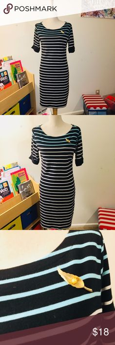 Karen Scott Sportwear Mint and White Striped Dress Karen Scott sport wear dress in mint green, with white and black stripes. EUC Dress has cuffed 3/4 Sleeves. Can add brooch to bundle- with discount Karen Scott Dresses