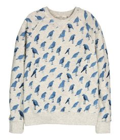 Patterned sweatshirt with long raglan sleeves and ribbing at cuffs and hem.  Grey with blue 198e5f750