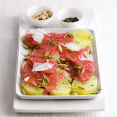 Carpaccio Potato Salad      1 medium potato, (4 ounces)     Sea salt, to taste     Pepper, to taste     2 tablespoon(s) olive oil     1 ounce(s) Parmesan cheese     4 ounce(s) beef carpaccio, thinly sliced     6 basil leaves