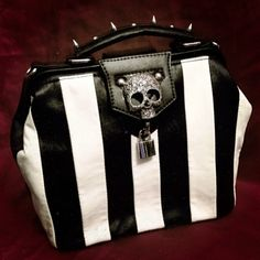 #skull purse #black and white #spikes