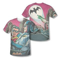 Batman Classic TV Series Bat Signal Vintage Photo Sublimation All-Over T-shirt  Official Licensed Batman All Over Front And Back Sublimated Print #Batman #DCComics #BatmanTshirt #BruceWayne #VintageComics  #GothamCity #Robin #TheBoyWonder #BatSignal #BatLogo #BatSymbol #ComicCover