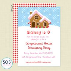 Run, run as fast as you can for this adorable Gingerbread House Invitation. Perfect for a winter birthday or a cookie exchange party. 5 x 7 -