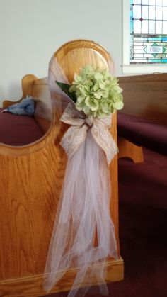 Church Pew Decoration: silk hydrangea, tulle, and burlap ribbon with lace