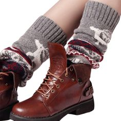LAPAYA Women's Leg Warmer Christmas Reindeer Pattern Bohemian Knit Boot Stocking, Grey, One Size. Hand wash cold. Leg warmers, Boot cuff, Christmas patterned, Ribbed, An extra layer against the cold. Colorful leg warmers feature snowflake printed with stretch fabric. Suitable for wearing with booties and match any style of clothes. The size on the product detail page is US size.