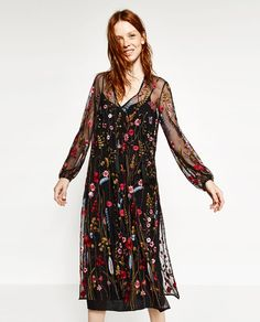 Image 5 of LONG EMBROIDERED DRESS from Zara