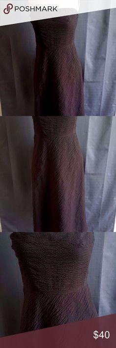 "J. Crew Brown Seersucker Sz 8 J. Crew Brown Strapless Seersucker Dress Size 8 Lined Bust: 16"" Top to bottom: 35.5"" J. Crew Dresses Strapless"