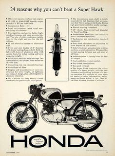 1963 Ad 1964 Honda Super Hawk CB77 Motorcycle 305cc OHC Twin Engine Sport Bike  #vintage #honda #superhawk